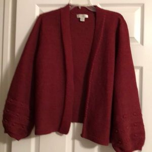 Rich brick red cardigan with puff sleeves